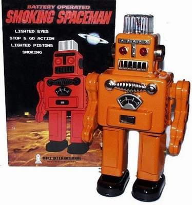 Smoking Spaceman Robot Orange